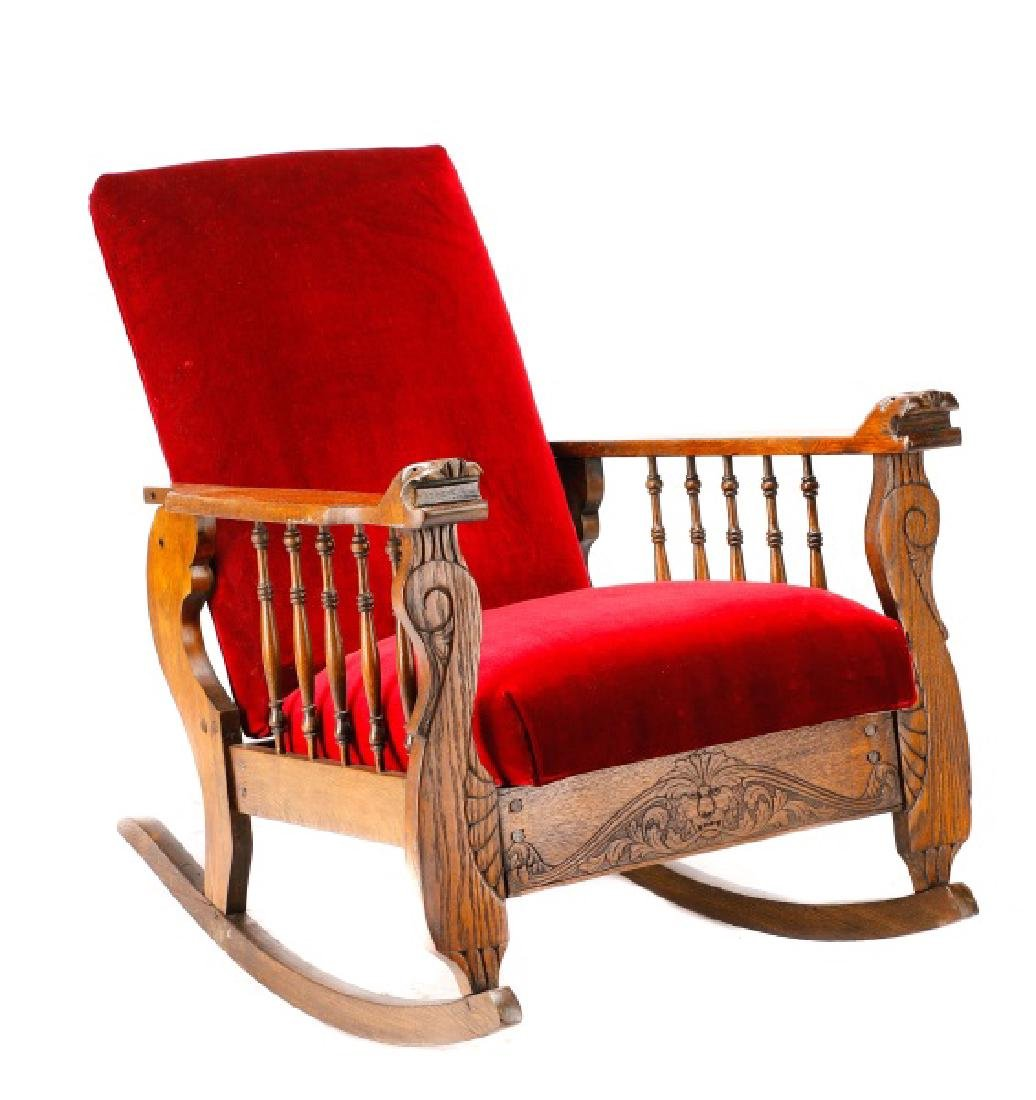 Morris Type Oak & Velvet Reclining Rocking Chair