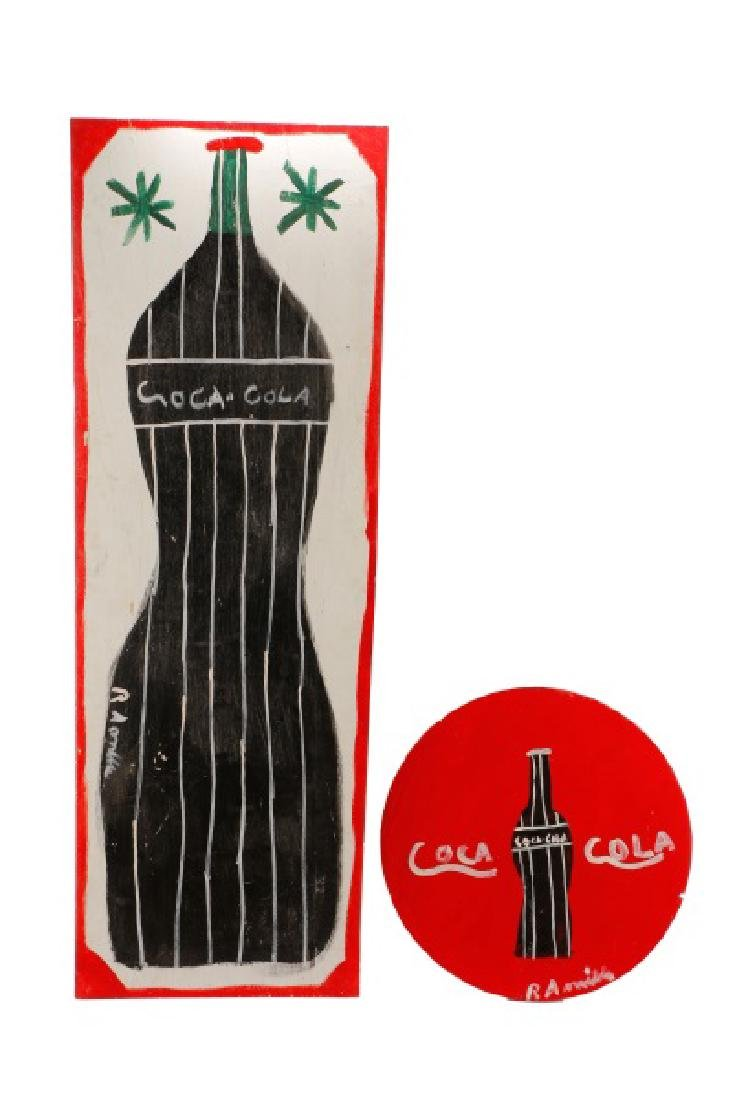 RA Miller 2 Painted Coca-Cola Signs on Wood