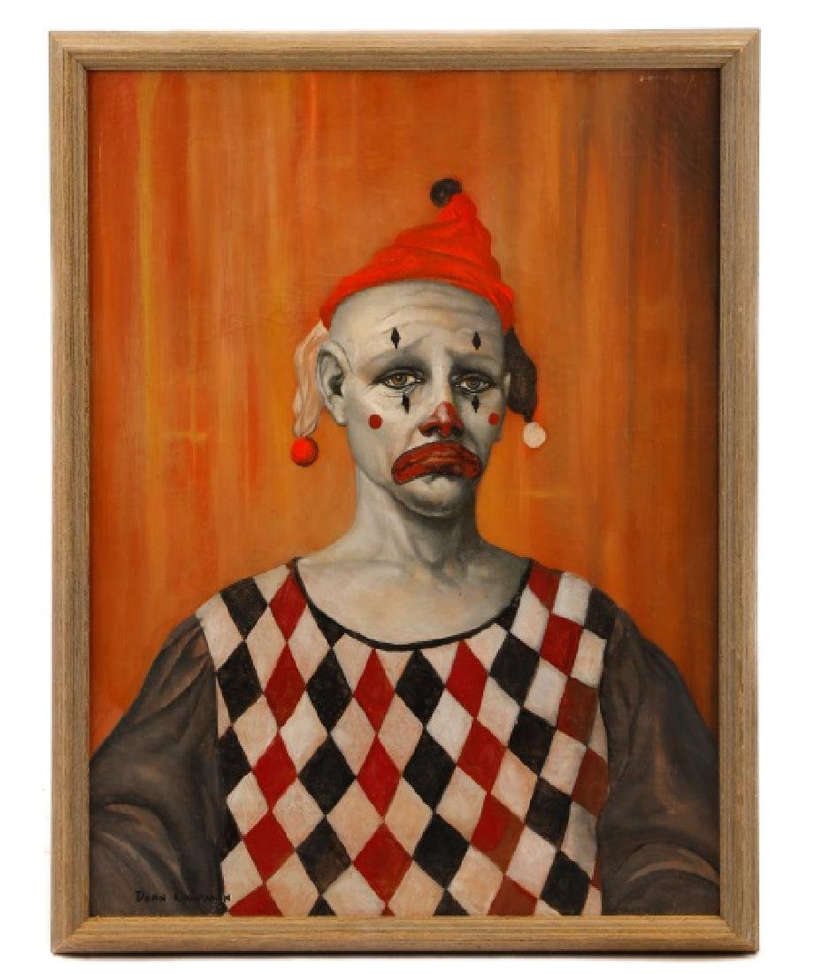 "Dean Chapman ""Sad Clown"", Oil on Canvas"