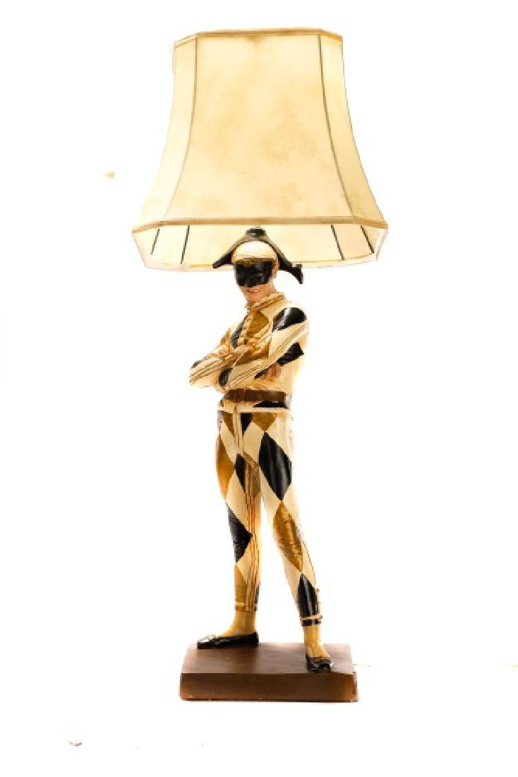 Large Figural Jester Lamp, St. Marceaux Style