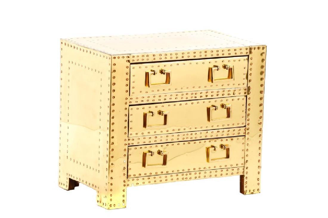 Sarreid Mid Century Modern Brass 3 Drawer Table