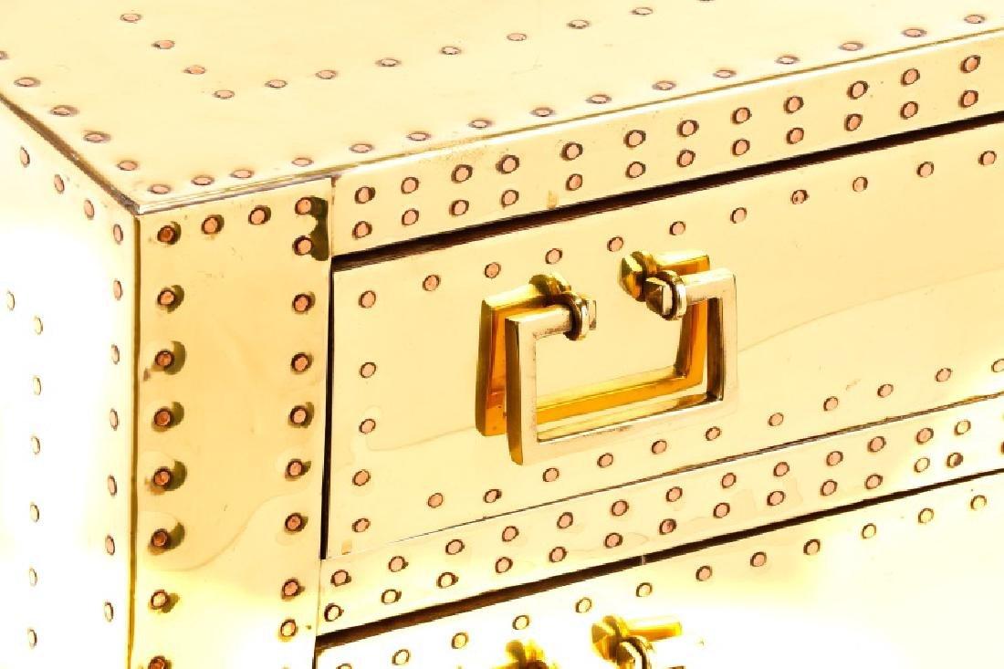 Sarreid Mid Century Modern Brass 3 Drawer Table - 2