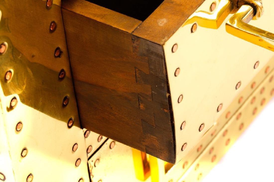 Sarreid Mid Century Modern Brass 3 Drawer Table - 3