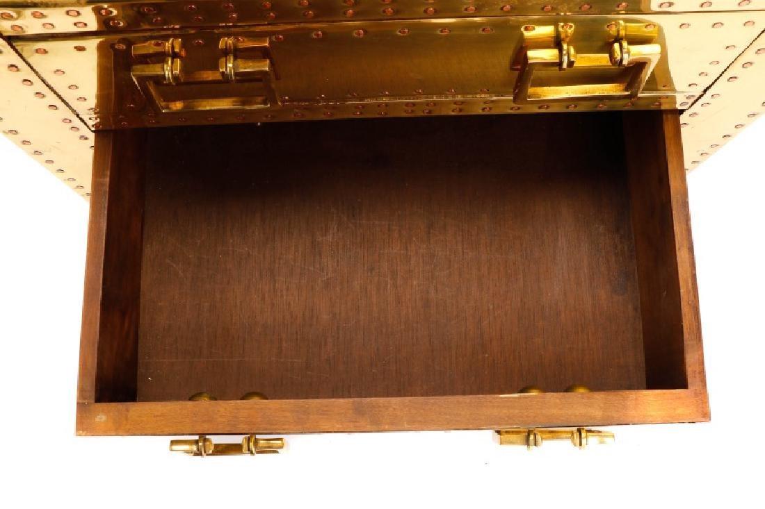 Sarreid Mid Century Modern Brass 3 Drawer Table - 4