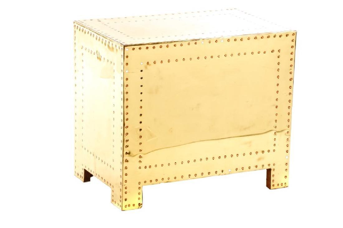 Sarreid Mid Century Modern Brass 3 Drawer Table - 7