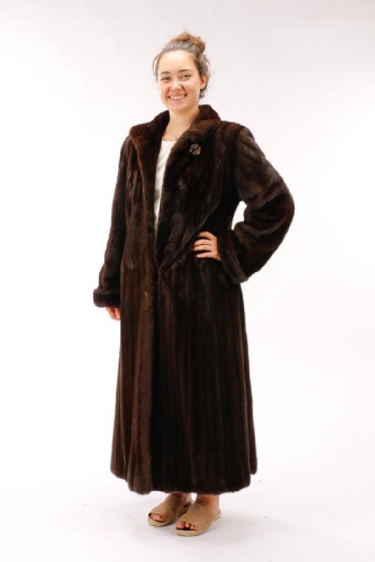 Anne Klein Full Length Mahogany Mink Coat