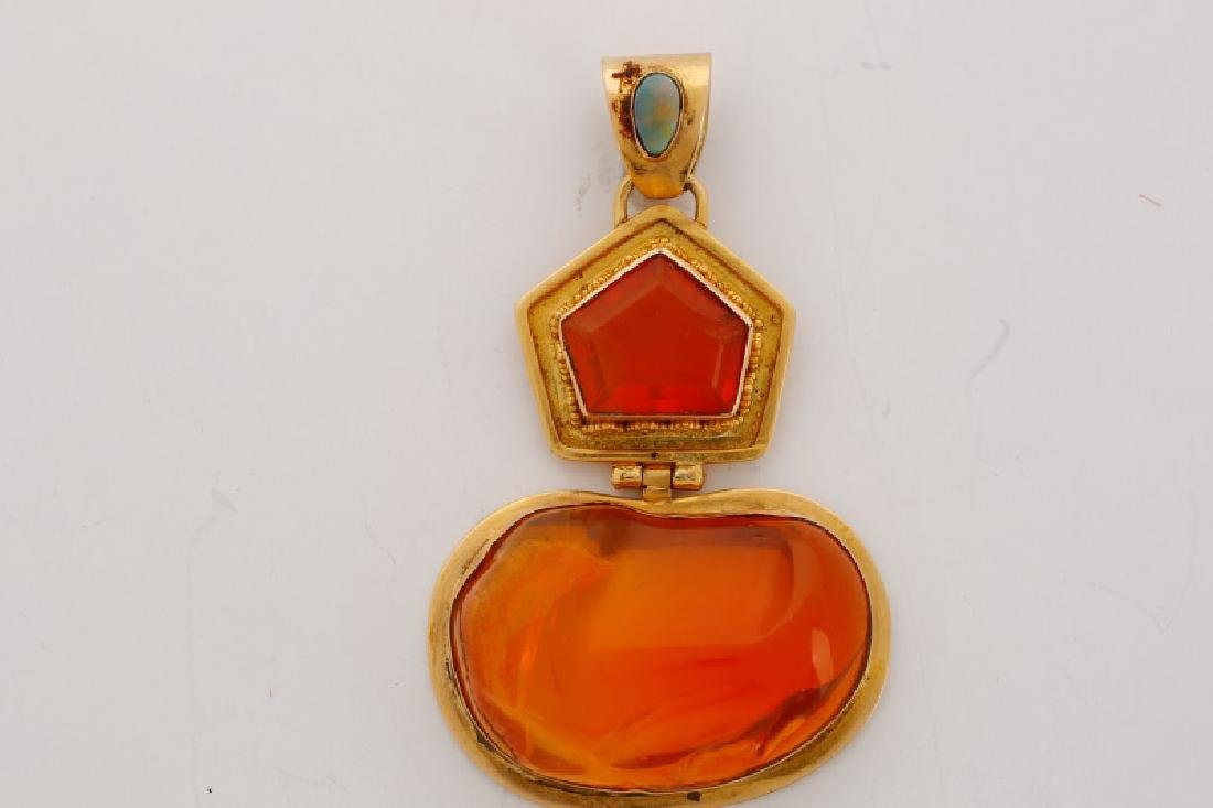 18k Yellow Gold & Mexican Fire Opal Pendant - 2