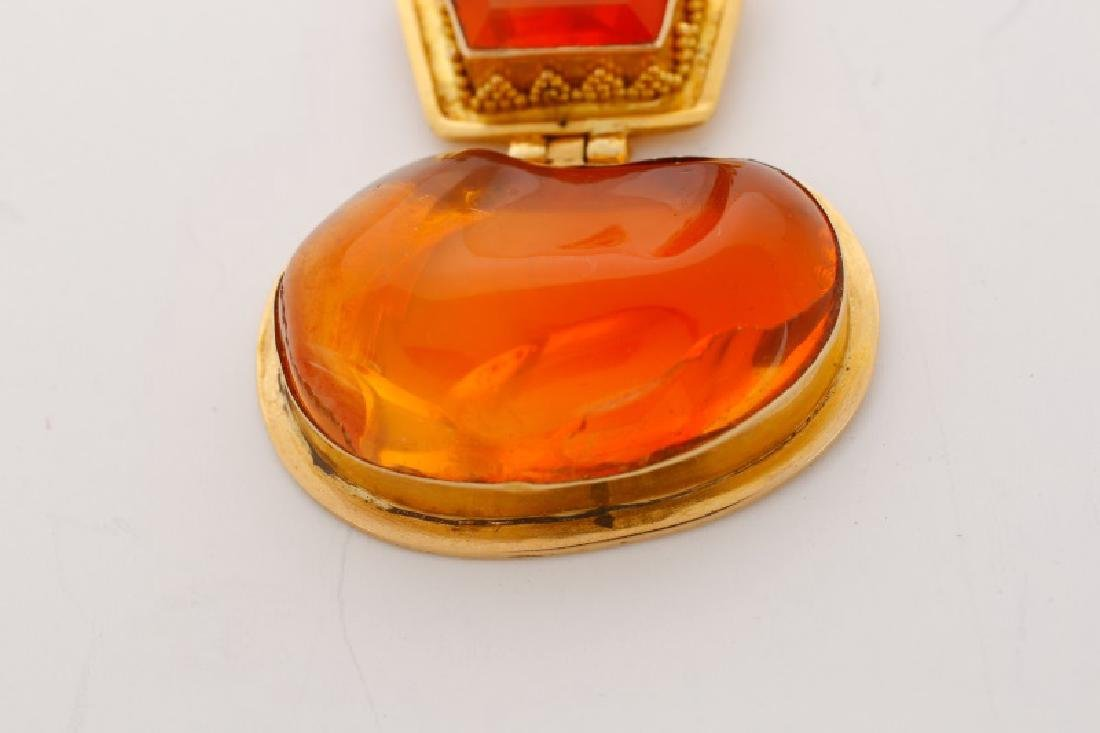 18k Yellow Gold & Mexican Fire Opal Pendant - 4