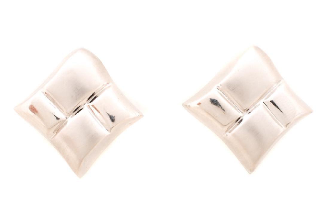 Italian 14k White Gold Free Form Earrings