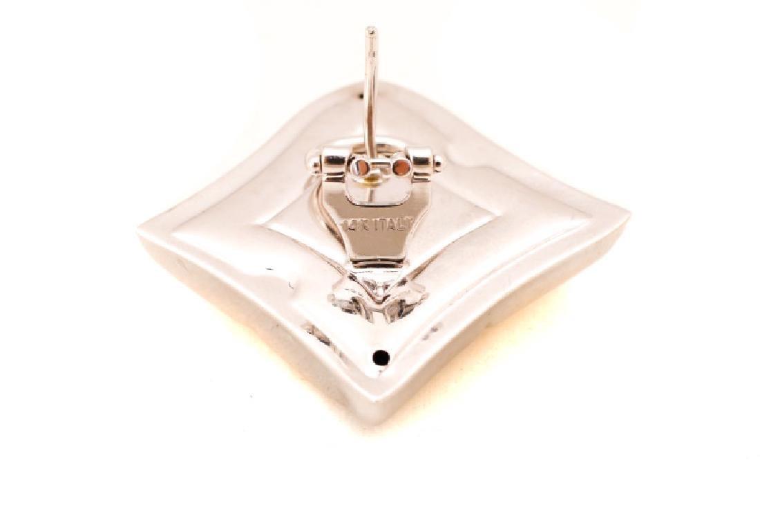 Italian 14k White Gold Free Form Earrings - 2