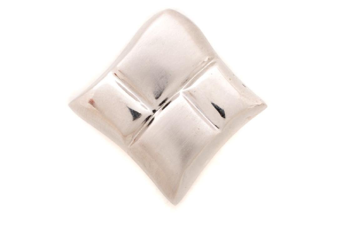 Italian 14k White Gold Free Form Earrings - 4