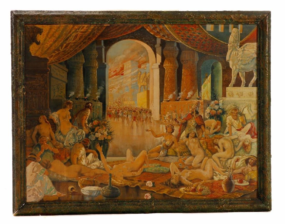 Assyrian Palace Feast, Gouache on Masonite