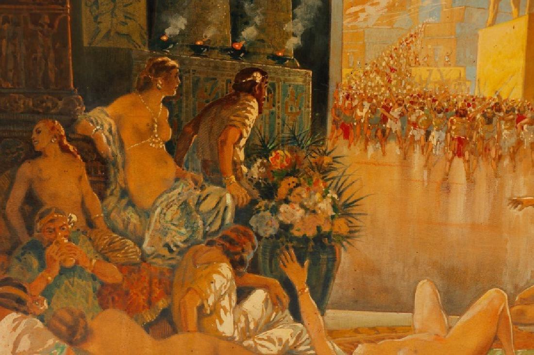 Assyrian Palace Feast, Gouache on Masonite - 4