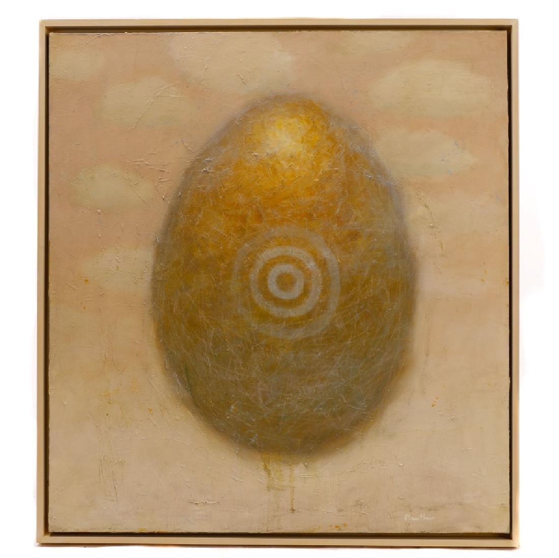 "Kit Reuther, ""Gilded Egg on Pink Sky"", O/C"