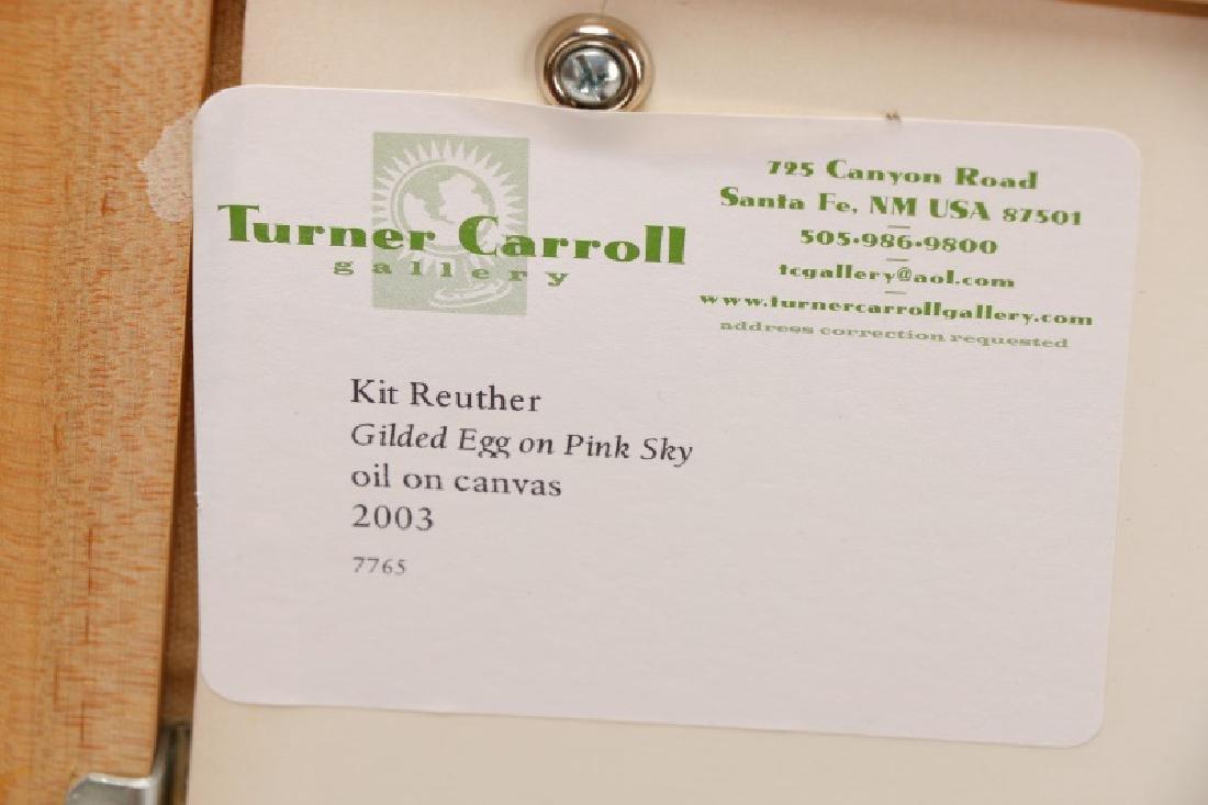"Kit Reuther, ""Gilded Egg on Pink Sky"", O/C - 5"