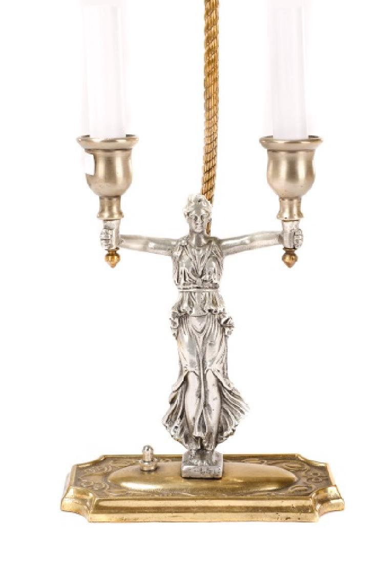 Mixed Metal Figural Twin Light Desk Lamp - 8