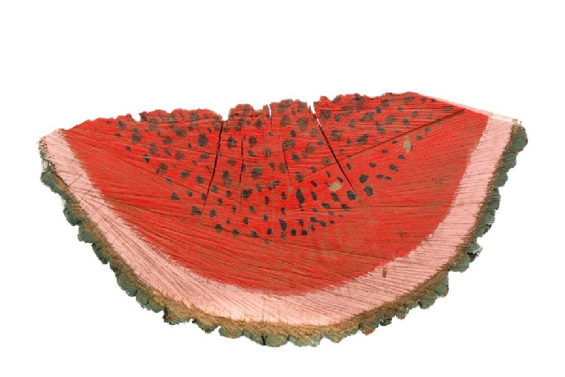 Primitive Folk Art Painted Watermelon Slice