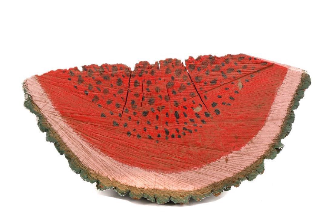 Primitive Folk Art Painted Watermelon Slice - 2