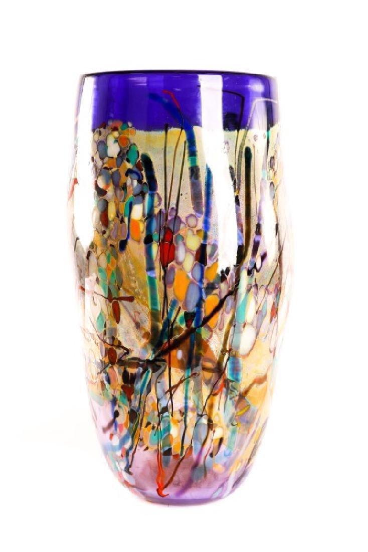John Gerletti, Large Hand Blown Purple Glass Vase