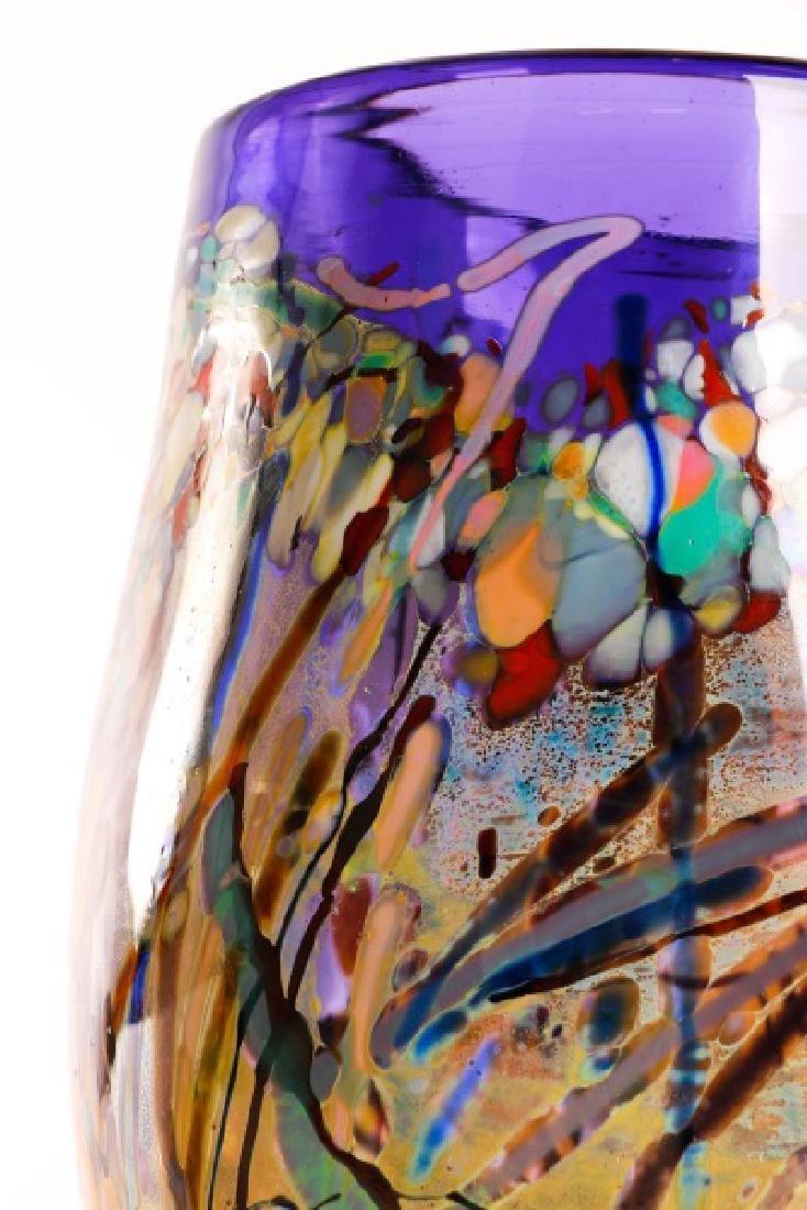 John Gerletti, Large Hand Blown Purple Glass Vase - 6
