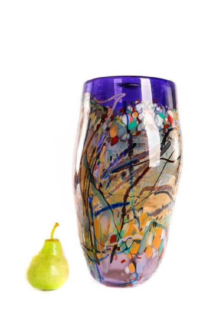John Gerletti, Large Hand Blown Purple Glass Vase - 7
