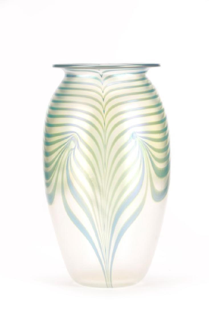 "Robert Eickholt 8"" Pulled Feather Glass Vase"