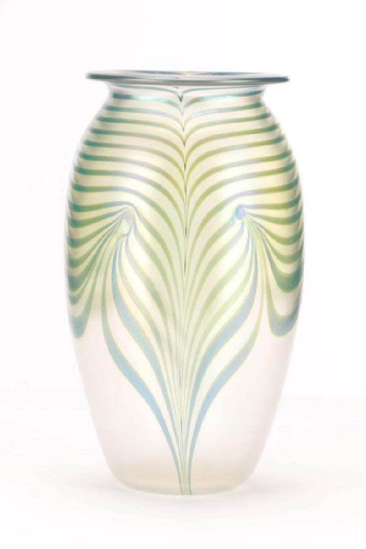 "Robert Eickholt 8"" Pulled Feather Glass Vase - 3"