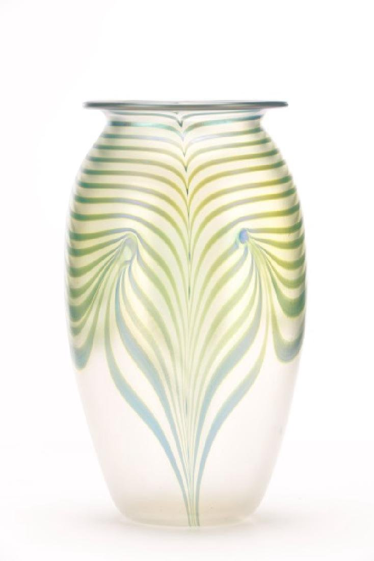 "Robert Eickholt 8"" Pulled Feather Glass Vase - 4"