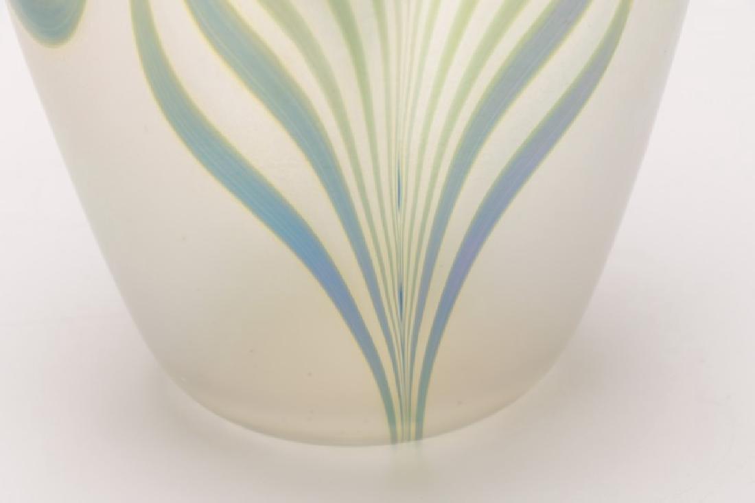 "Robert Eickholt 8"" Pulled Feather Glass Vase - 8"