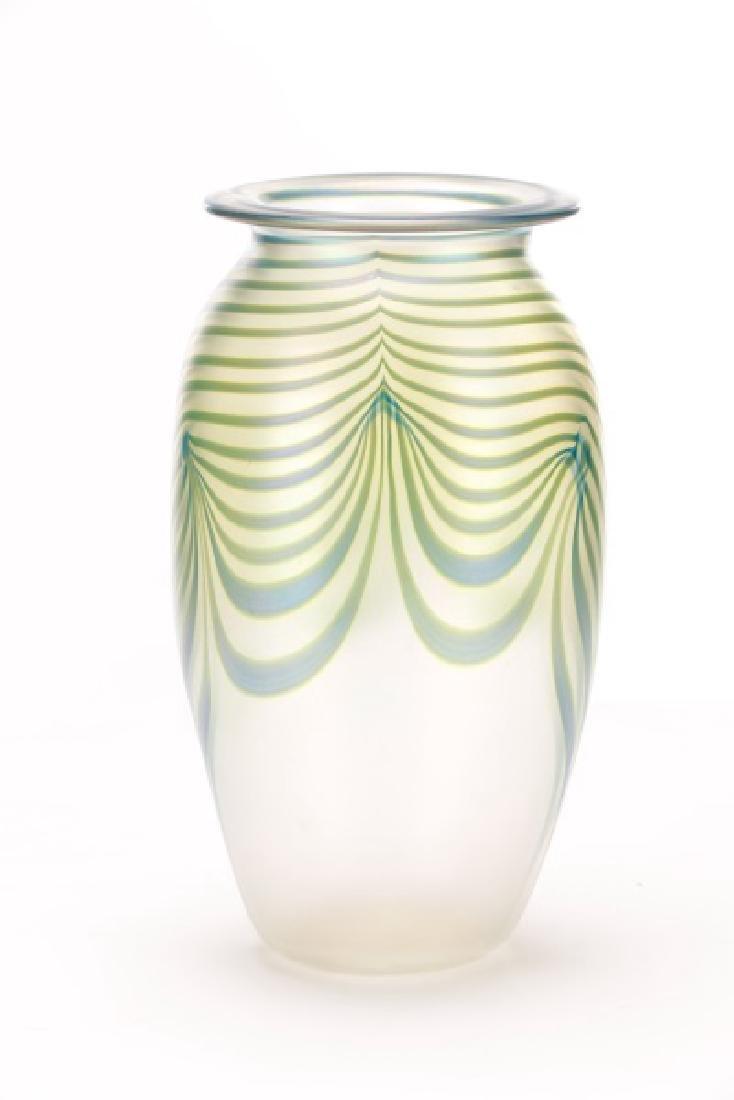 "Robert Eickholt 8"" Pulled Feather Glass Vase - 9"