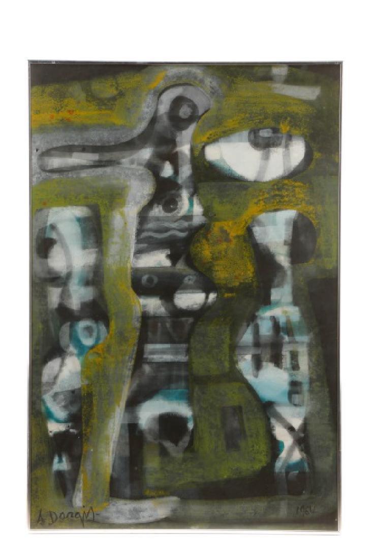 Alfons Dargis, 1964 Signed Abstract Mixed Media