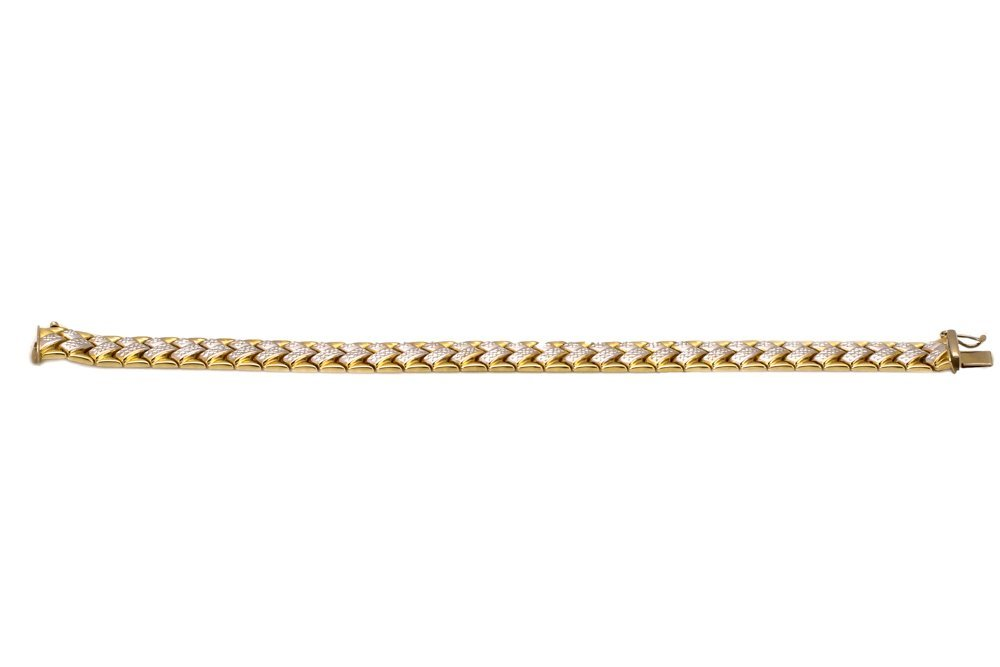 "14k Yellow & White Gold ""Chevron"" Bracelet"