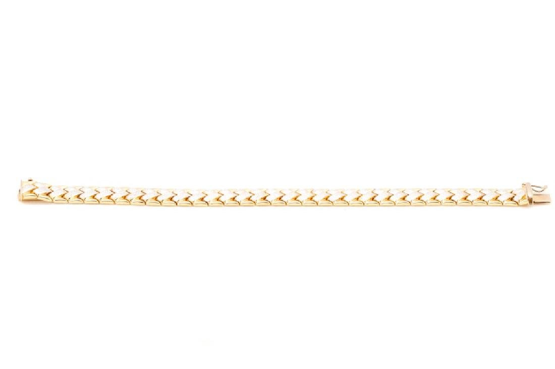 "14k Yellow & White Gold ""Chevron"" Bracelet - 3"