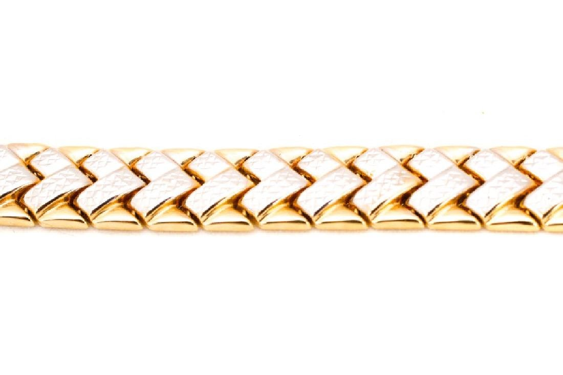 "14k Yellow & White Gold ""Chevron"" Bracelet - 6"