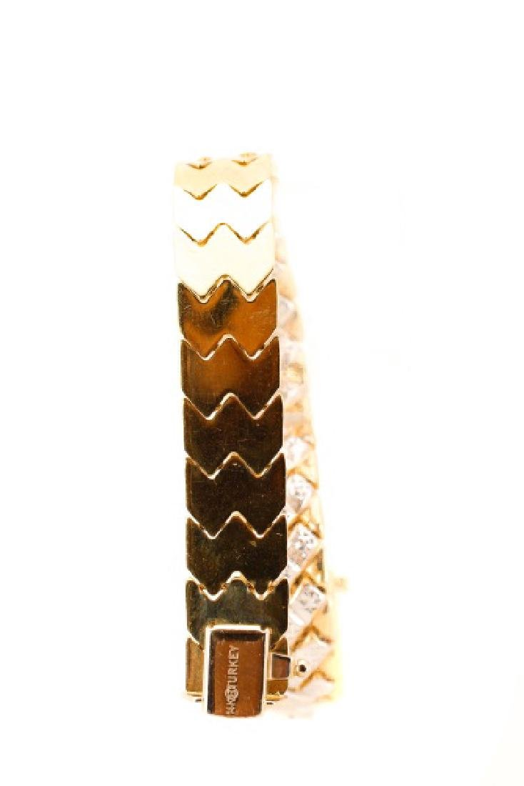 "14k Yellow & White Gold ""Chevron"" Bracelet - 8"
