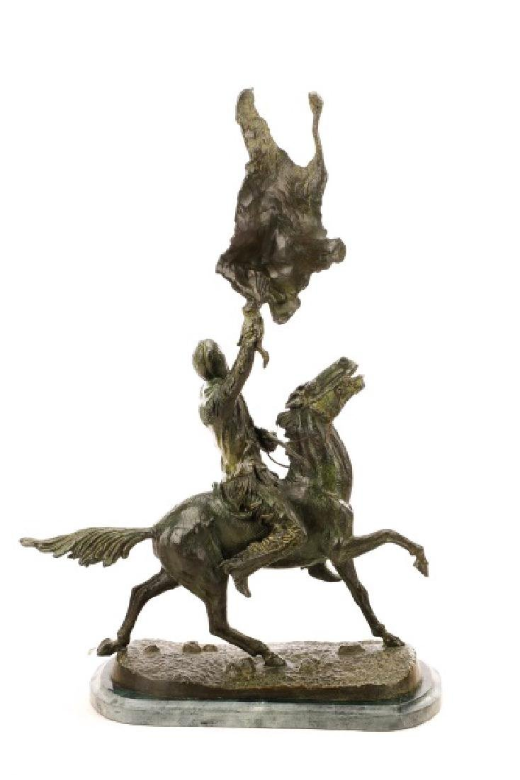 "After Frederic Remington, ""Buffalo Signal"", Bronze - 10"