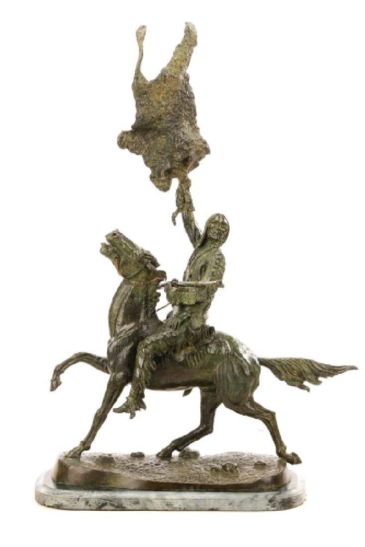 "After Frederic Remington, ""Buffalo Signal"", Bronze"