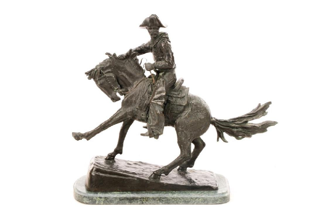 "After Remington, ""Cowboy"" Bronze Sculpture"