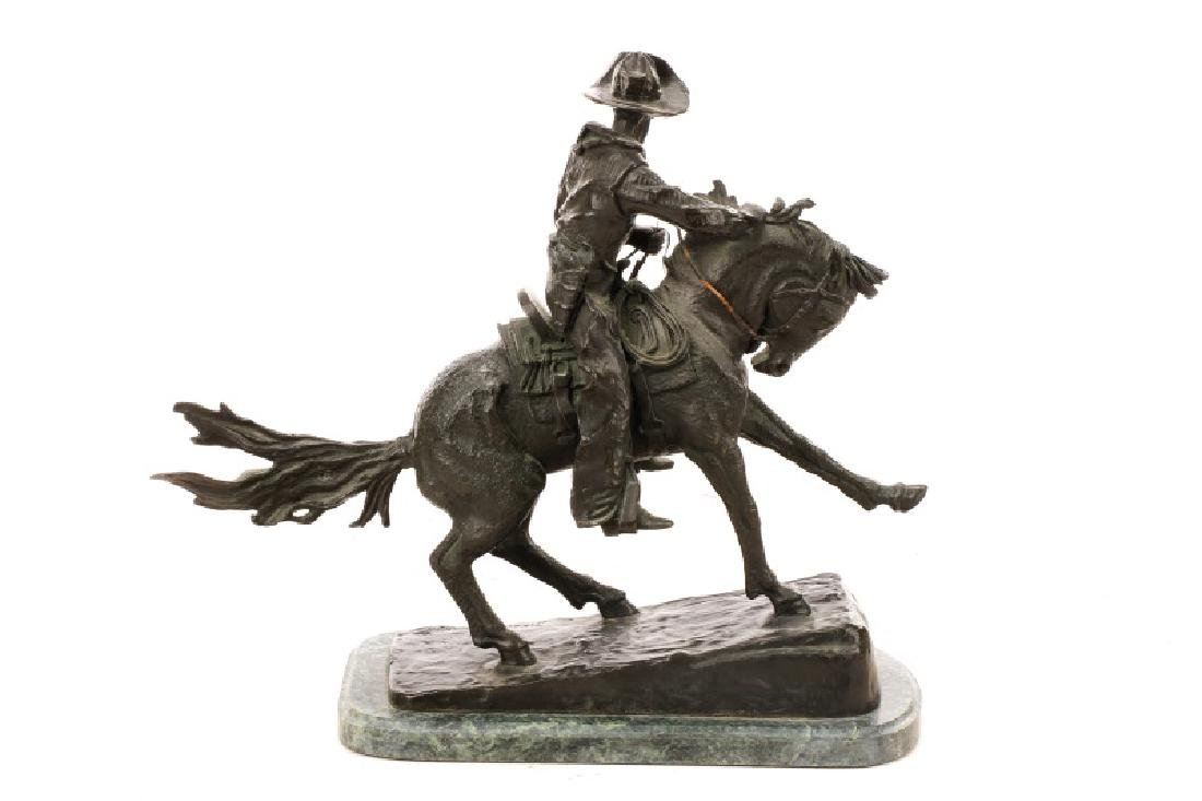 "After Remington, ""Cowboy"" Bronze Sculpture - 4"