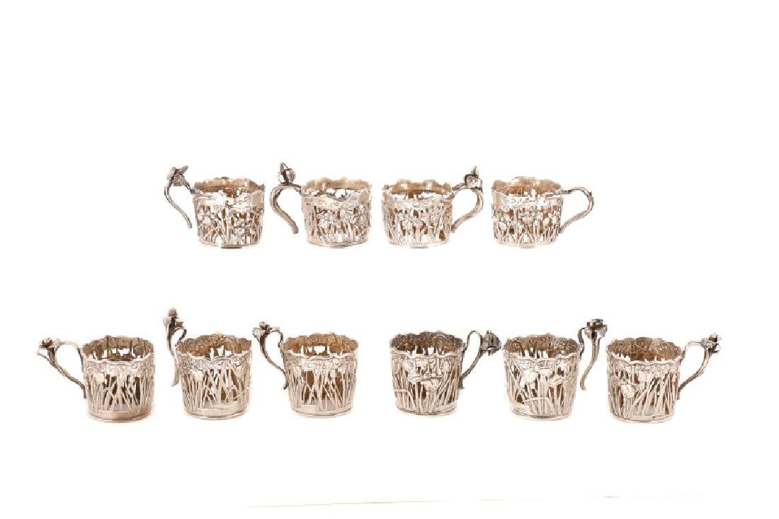 10 Arthur & Bond Yokohama Sterling Demitasse Cups