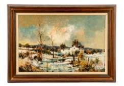 "Attr. M. De Gallard, ""Winter Landscape"", O/C"