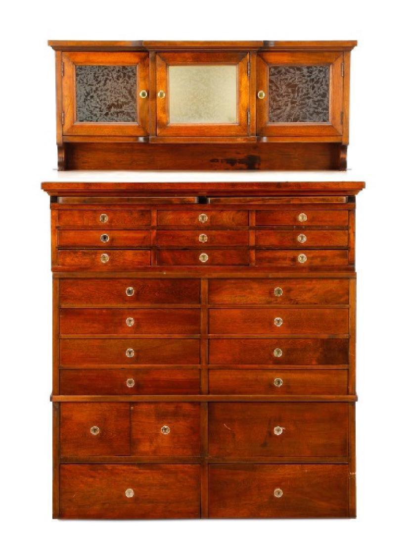 Twenty-Two Drawer Oak Stained Dental Cabinet