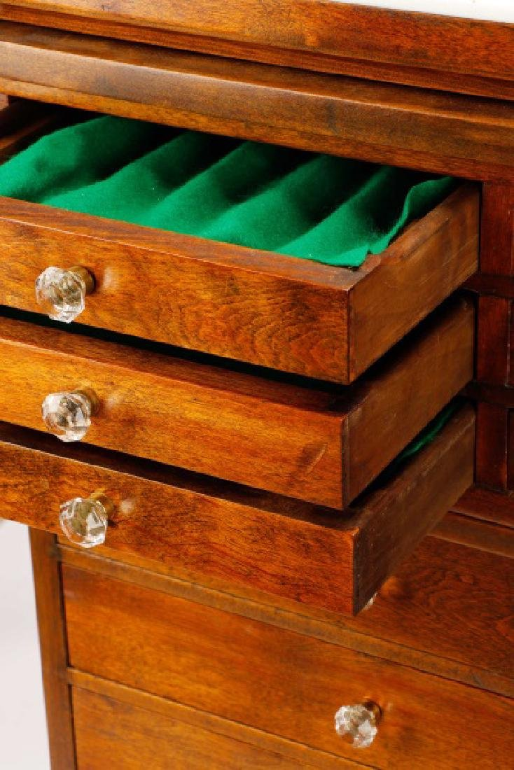 Twenty-Two Drawer Oak Stained Dental Cabinet - 6