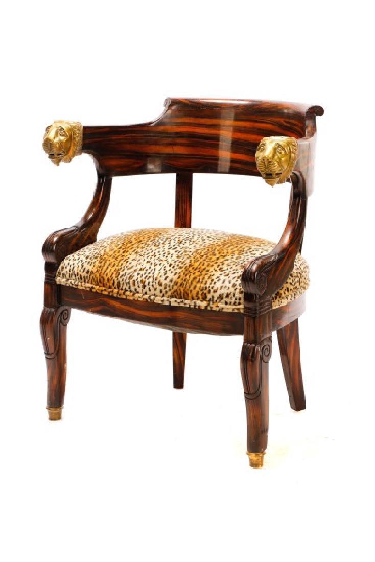 English Regency Calamander Lion's Head Chair