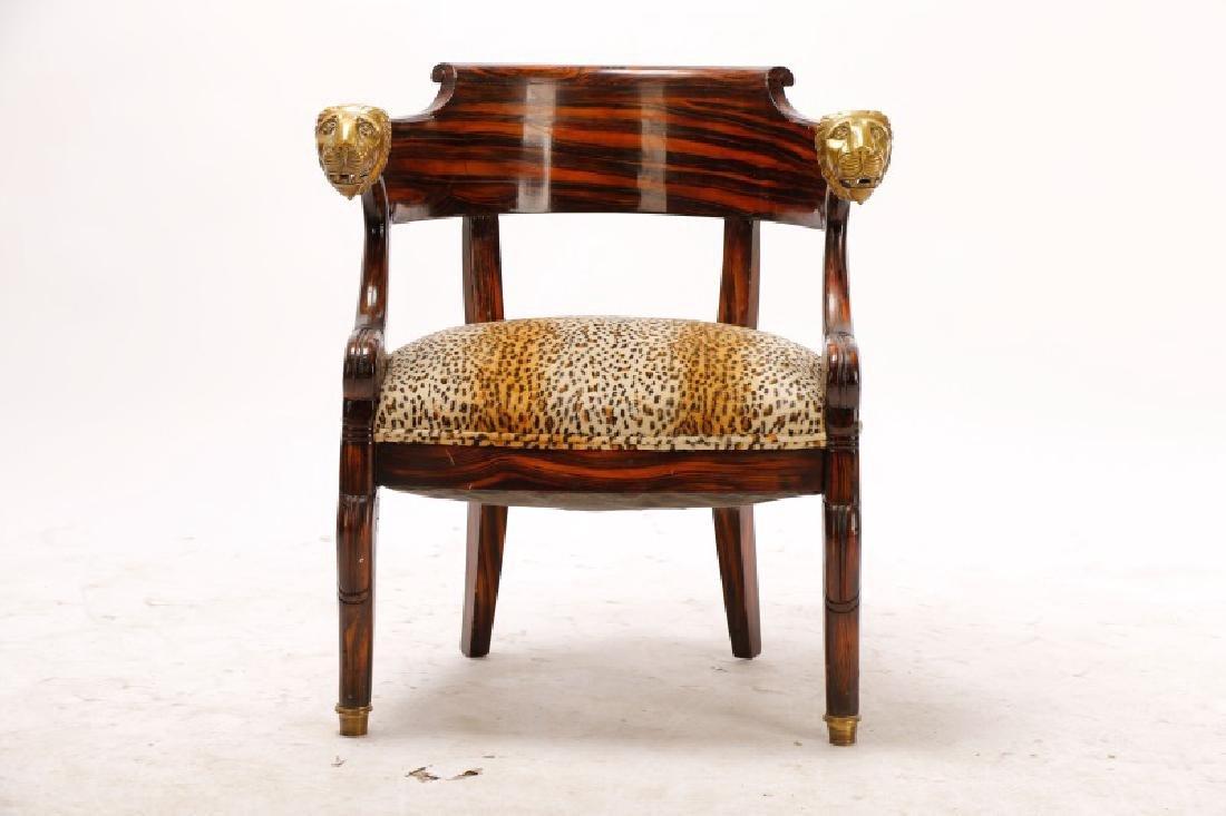 English Regency Calamander Lion's Head Chair - 4