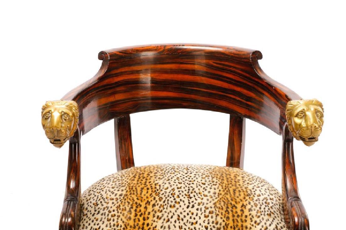 English Regency Calamander Lion's Head Chair - 7