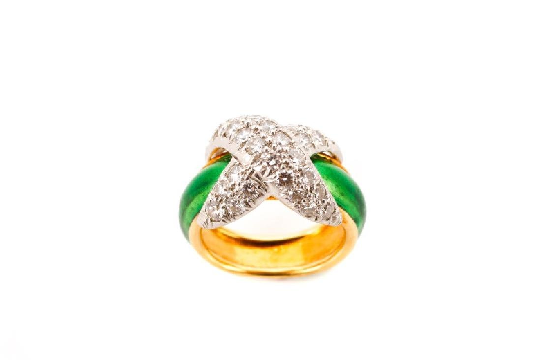 Pave X Enamel & Diamond Ring, After Tiffany & Co.