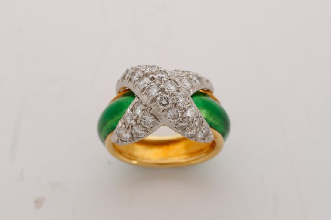 Pave X Enamel & Diamond Ring, After Tiffany & Co. - 2