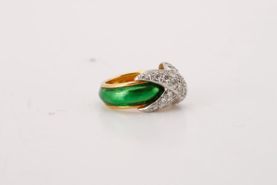 Pave X Enamel & Diamond Ring, After Tiffany & Co. - 4