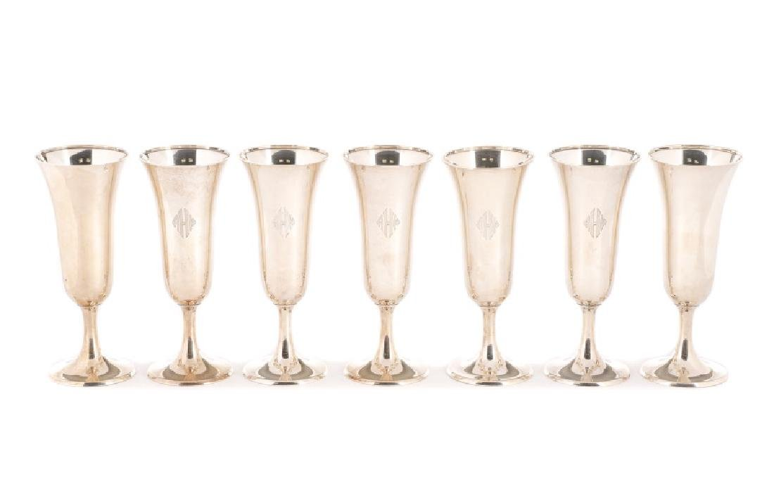 Set of 14 Whiting Sterling Champagne Flutes